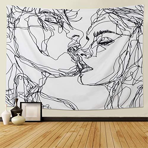 LOMOHOO Schädel-Tapisserie Der küssende Liebhaber-Tapisserie Wandbehang Schwarz und weiß Menschlicher Skelettteppich mit Rose Kranz Home Decor Wandteppiche Wandkunst für Zimmer (L/150cmX200cm)
