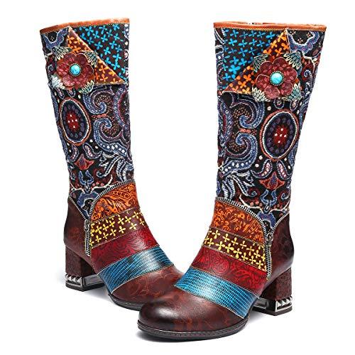 gracosy Lederkniestiefel, hohe Stiefel für Damen, kniehohe Stiefel, Overknee-Reitstiefel, Waden-Stiefel, flache Stiefelette, Braun (braun), 39 EU