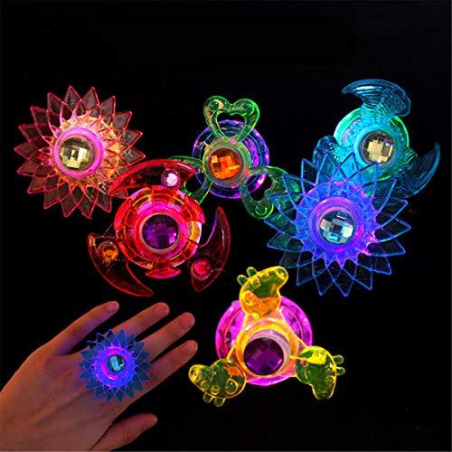 WOWOWO Nuevo 3pcs Led Fidget Spinner Ring Flash Light Hand Spinner Gyro Juguete para aliviar el estrés