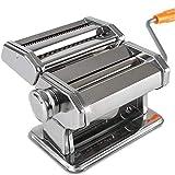 Macchina per la pasta, Macchina per la pasta in acciaio inox Rullo per pasta con 2 tagliate Impostazioni Lama Per Spaghetti Fettuccini Cucina Gadget Regalo (Colore: Argento, Dimensioni: 21X19X15CM)