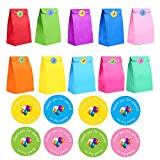 LOKIPA 24 Pieces Party Favor Paper Gift Bags with 36 Pieces Thank You Party Stickers for Birthday Party Supplies (13 x 8x 24cm)