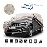 Tecoom Thick Shell Super Breathable Waterproof Windproof Snow Sun Rain UV Protective Outdoor All Weather SUV Cover Fit 211-220 Inches Full-Size SUV