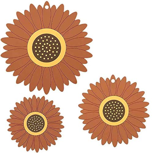 Vqxrhf A3PCS Silicone Sunflower Impermeable Aislamiento Antideslizante, Almohadilla antihierro, Estera de macetas, Estera de Taza, Almohadilla de Malla, Pad Bowl Pad