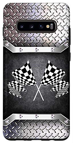 Galaxy S10+ Racing Flag Checkerboard Diamond Plate Steel Checkered Flag Case