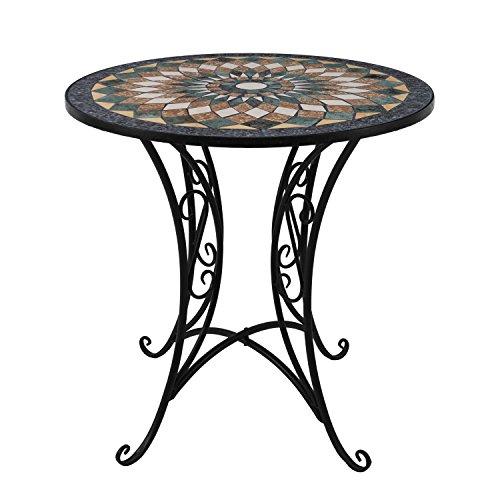 Mosaik Gartentisch rund Ø60cm Mosaiktisch Beistelltisch Bistrotisch Balkontisch Eisen Keramik