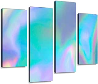 YKing1 Pastel Colored Holographic Wall Art Painting Pictures Print On Canvas Stretched & Framed Artworks Modern Hanging Posters Home Decor 4PANEL