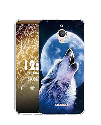 Sunrive Funda Compatible con Alcatel A2 XL, Silicona Slim Fit Gel Transparente Carcasa Case Bumper de Impactos y Anti-Arañazos Espalda Cover(Q Lobo 2)