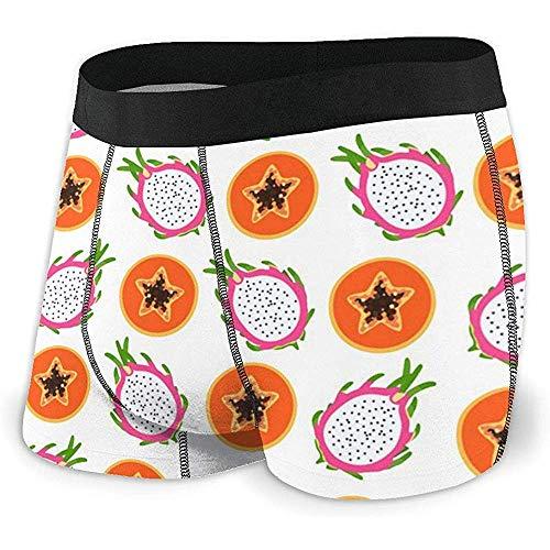 Men 'S atmungsaktive Unterwäsche Bright Tropical Apaya und Dragon Fruit Bequeme Boxershorts Größe XL