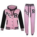 A2Z 4Kids - Tuta da baseball, logo NYC Fox, giacca con cappuccio e pantaloni sportivi, unisex, per bambini NYC Baby Pink 13 anni