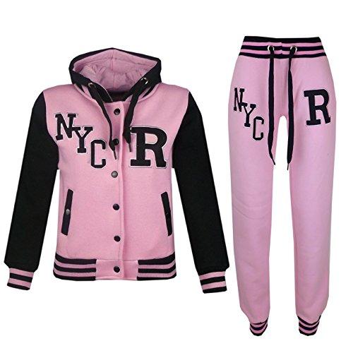 A2Z 4 Kids® Kinder Mädchen Jungen Baseball Trainingsanzug Jacke & Hose - T.S Baseball NYC Baby Pink 11-12
