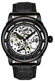 Stuhrling Original Mens Automatic Watch Skeleton Stainless Steel Self Winding Dress Watch with Premium Leather Band Legacy Collection (Black-A)