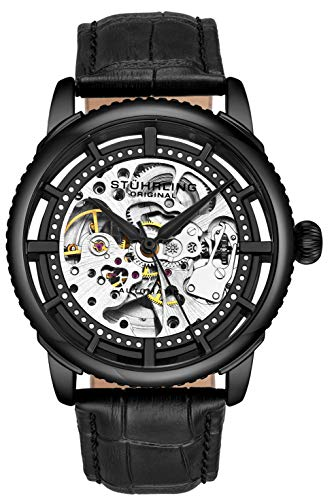 Stuhrling Original Herrenuhr, Skeleton Zifferblatt mit Lederband, Serie 3933 (Black)