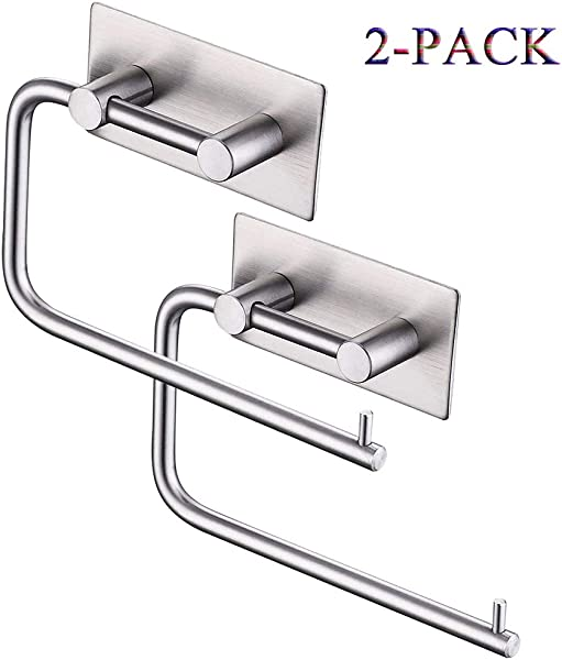 Bosszi Self Adhesive Toilet Paper Holder Stainless Steel Tissue Paper Roll Towel Holder Rustproof Brushed Finish Contemporary Style 2 Pack Surprise