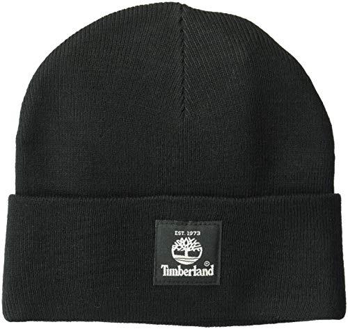 Timberland Herren Short Watch Cap with Woven Label Hut für kaltes Wetter, schwarz, Einheitsgröße
