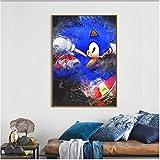 MONBAI Wandkunst Dekor Leinwand Poster Malerei Spiel Sonic