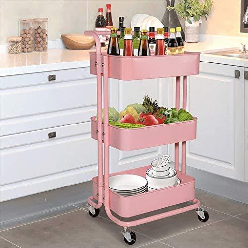 GFL Carrito de Cocina de 3 Niveles, Carrito de Servicio Carro de Almacenamiento de Cocina con Diseño de Asa Carro Multiusos con Frenos para Baño Cocina Habitación Infantil (Color : Pink)