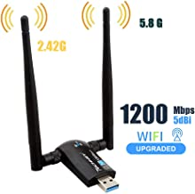 Techkey Wireless USB WiFi Adapter, 1200Mbps Dual Band 2.4GHz/300Mbps 5.8GHz/867Mbps High..