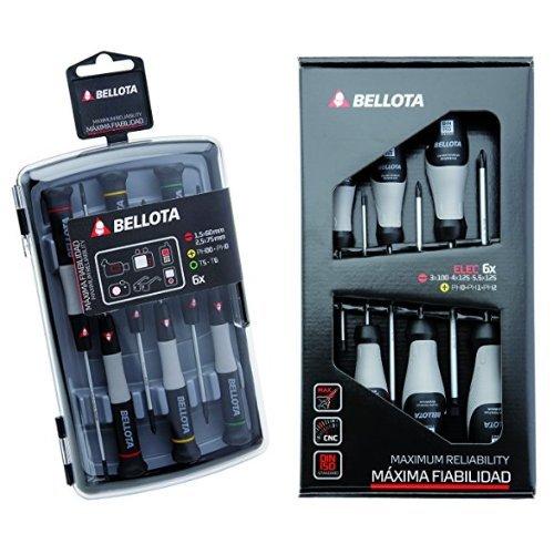 Bellota 6250J - Pack de 6 destornilladores de precisión + 66291-ELEC - Pack de 6 destornilladores para electricista