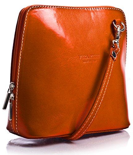 Big Handbag Shop Mini sac bandoulière Vera Pelle en cuir italien véritable - Orange - orange, One Size Fits All