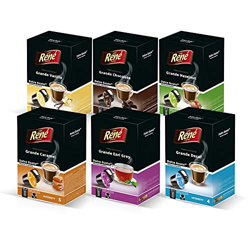 Cafe Rene - Rene Grande Pack - 16 x Dolce Gusto Kompatible Kaffeepads (6 Stück)