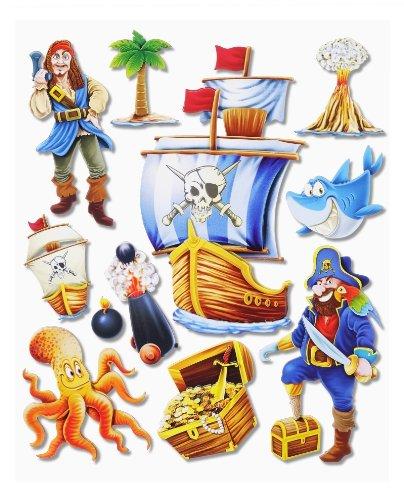 Stickerkoenig Wandtattoo 3D Sticker Wandsticker Kinderzimmer - Piraten Set mit Schiff I #500 - Deko auch für Fenster, Schränke, Türen etc auf Bogen