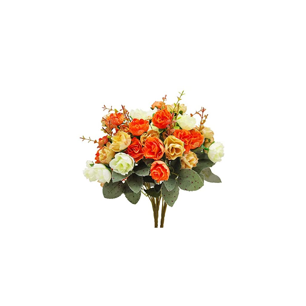 TURNMEON 3 Bunch Flower Bouquets Artificial Flowers Fake Flowers for Home Table Fall Decors, Bridal Bouquet Silk Flowers Fake Flowers for Wedding Decoration Autumn Decoration Centerpiece