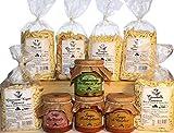 Gran Despensa. Productos típicos italianos de la región de Puglia. Pasta casera hecha de sémola de trigo duro en varios formatos. Salsas listas y aderezos con nabo