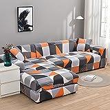 MKQB Funda de sofá elástica en Forma de L para Sala de Estar, Funda de sofá elástica para Muebles modulares, Funda de sofá Antideslizante Envuelta herméticamente NO.5 4seat-XL- (235-300cm)