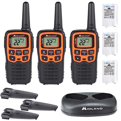 Midland - X-TALKER T51VP3, 22 Channel FRS Two-Way Radio - Extended Range, 38 Privacy Codes, NOAA Weather Alert (3 Pack) (Black/Orange)