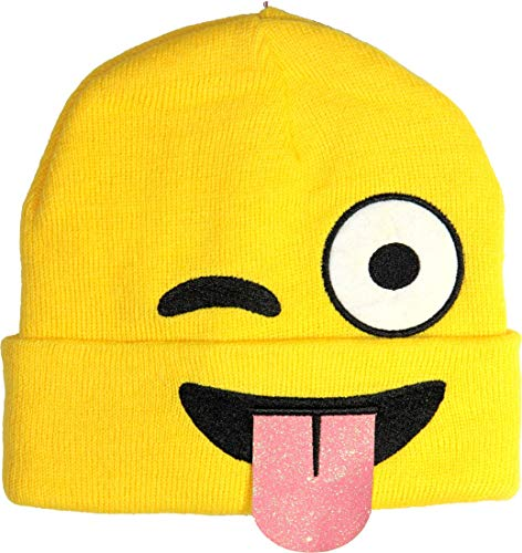 Yoga Boho Pop Culture Hippie Gypsy Bohemian Winter Unisex Patchwork Yellow Color Emoji Funny Faces Kids Stretchable Knit Cap 3929 (Large, 3932)