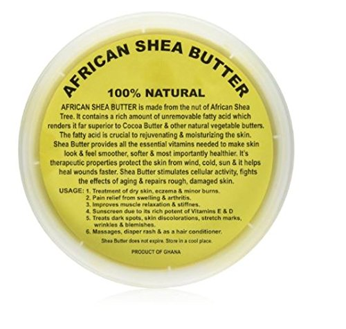 Raw Unrefined Grade A Soft and Smooth African Shea Butter from Ghana - Amazing quality and consistency - comes in a 16 oz Jar - Total weight approximately 14 oz by HalalEveryday
