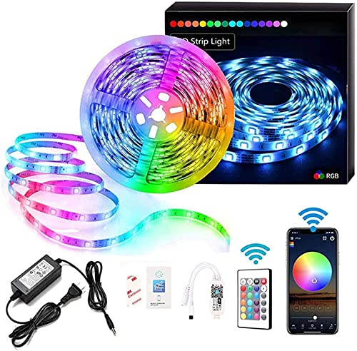 DUOLZ LED Strip Lights, 5M RGB Color Changing 5050 Smart LED Strip Lights with 24-Key WiFi Remote Control, for Home Party and Festival DIY Decoration,5M 150 Lights