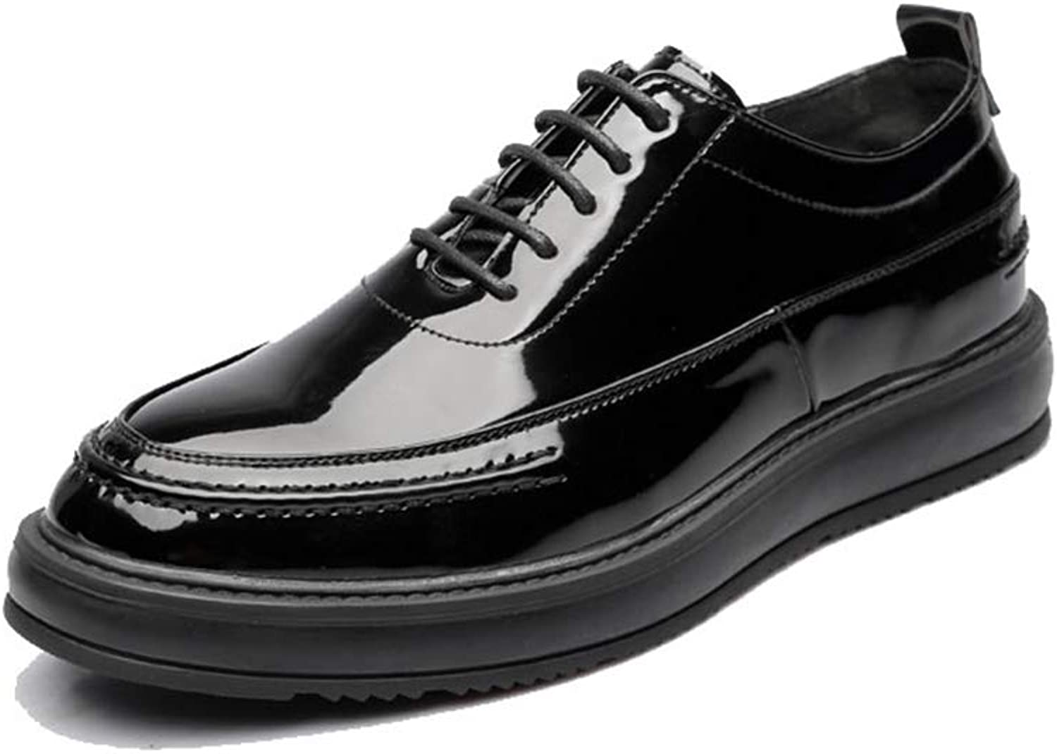 CHENDX shoes, Men's Fashion British Style Pointed toe Oxford Casual Trend Comfortable Outsole Formal shoes (Patent Leather Optional) (color   Paint black, Size   8 UK)