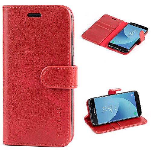Mulbess Handyhülle für Samsung Galaxy J5 2017 Hülle, Leder Flip Hülle Schutzhülle für Samsung Galaxy J5 2017 Duos Tasche, Wein Rot