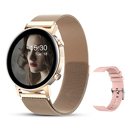 Smart Watches for Women, Smartwatch for Android Phones and iOS Waterproof Ladies Fitness Tracker with Full Touch Screen Heart Rate Sleep Monitor Pedometer Calorie Personalized Watch Faces