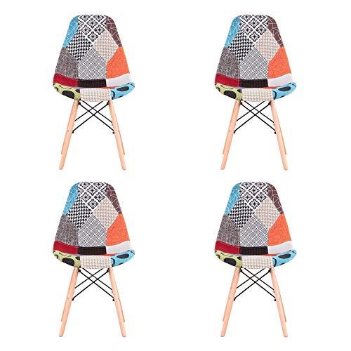 Uderkiny Set di 4 Sedia in Stile Nordico Sedia da Pranzo Patchwork, Adatte per Sala da Pranzo Soggiorno (Rosso 01)