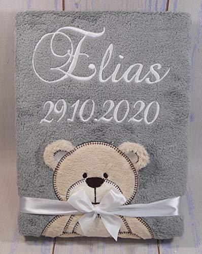 Babydecke mit Namen und Datum bestickt Baby Geschenke Geburt (Grau - Teddybär)