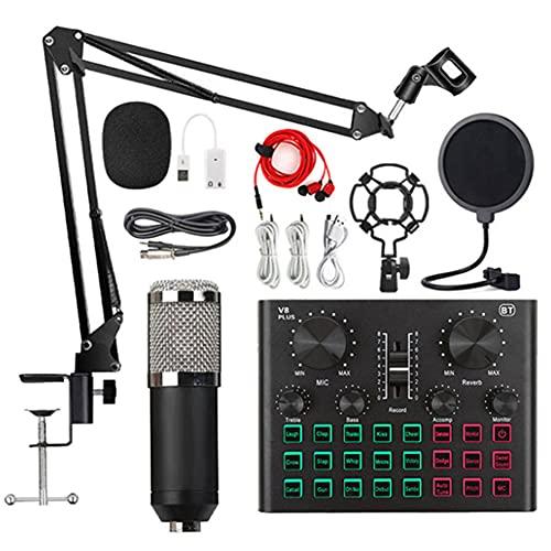 XIRENZHANG Micrófono Condensador, Kit de micrófono con Tarjeta de Sonido en Vivo, Brazo de Tijera de micrófono Ajustable, para grabación y transmisión de Estudio Silver