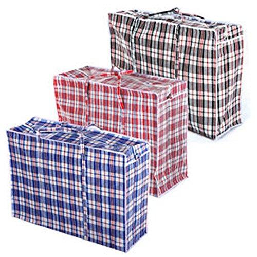 TRIXES 3er Pack Wiederverwendbare Jumbotaschen mit Reißverschluß für Wäsche u.ä.