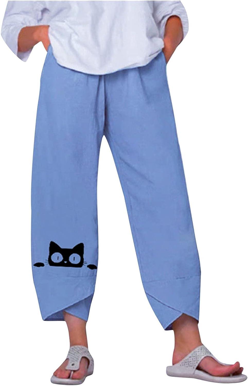 Wabtum Summer Pants Industry No. 1 for Challenge the lowest price of Japan Women Women's Pant Cotton Cat Cute Linen