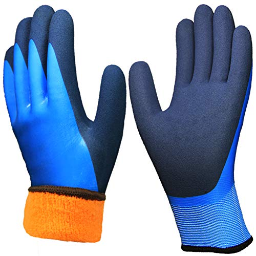 Waterproof Thermal Work Gloves, Superior Grip Coating Polar Fleece Liner Insulated for Winter Outdoor Garden Construction Ice Snow Utilities.