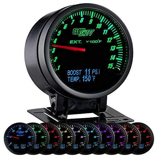 GlowShift 3in1 Analog 1500 F Pyrometer Exhaust Gas Temp EGT Gauge Kit with Digital 60 PSI Boost & 300 F Temperature Readings - 10 Selectable LED Colors - Black Dial - Clear Lens - 2-3/8' 60mm