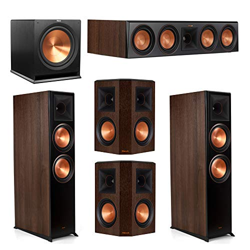 Best Review Of Klipsch 5.1.2 Walnut System - 2 RP-8060FA Atmos Speakers, 1 RP-504C, 2 RP-502S Speake...