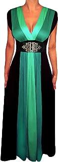 Plus Size Women Black Green Slimming Empire Waist Maxi Dress Made in USA