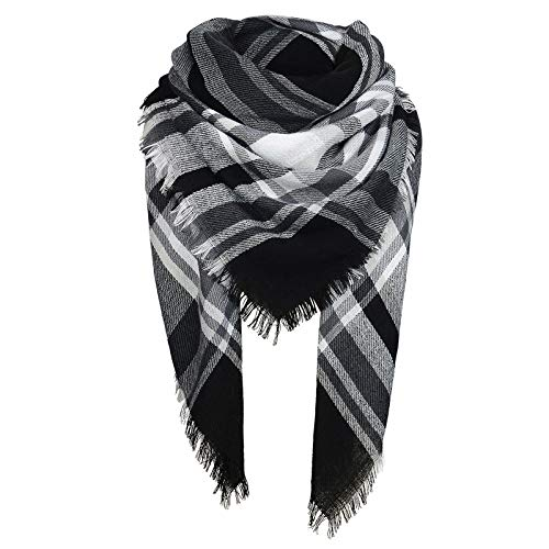 Zando Womens Winter Blanket Scarf Fashion Plaid Blanket Scarves for Women Warm Tassel Scarf Wrap Oversized Tartan Scarfs Ladies Large Wrap Shawl White Black One Size