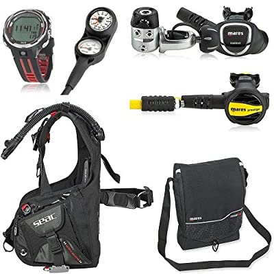 SEAC Guru Dive Computer Scuba Regulator BCD Package, Black, X-Small