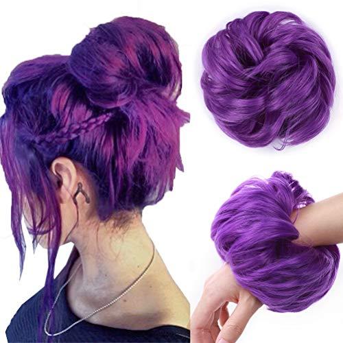 Cheveux en Désordre Chignon Cheveux Chouchous Extension Bouclés Ondulés épais Synthétique Chignon Updo Postiche Queue de Cheval Accessoires de Cheveux Violet