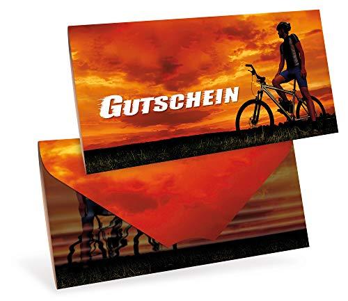 Tarjetas de cupones (10 unidades) – Vales de regalo para bicicleta, deportes, fitness – DIN largo tarjeta plegable, con cierre, en blanco para registrar los valores