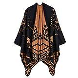 HUAHUA bufandas Caliente del otoño y del invierno bufandas, Pañuelo-mantón de la bufanda del babero del mantón de la capa de las mujeres Modelo geométrico de Split Duración del mantón de imitación de