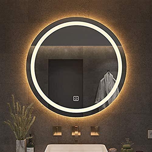 Espejo montado en la pared del cuarto de baño iluminado LED con lumen altas para el baño, el espejo de la vanidad del maquillaje iluminada con iluminación impermeable redondo moderno, interruptor táct